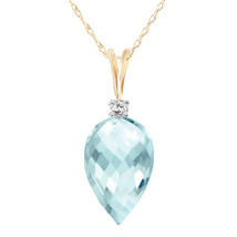 "11.3 CTW 14K Solid gold fine Arabian Sea Blue Topaz Diamond Necklace 16-24"" - $175.33+"