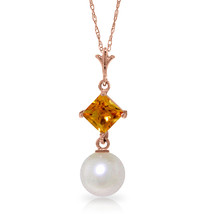 "14K Solid Rose gold fine Necklace 16-24"" w genuine Citrine & pearl - $113.63+"