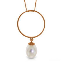 "14K Solid Rose gold fine Necklace 16-24"" w Briolette pearl - $128.84+"