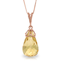"7 CTW 14K Solid Rose gold fine Raindrop Citrine Necklace 16-24"" - $138.79+"