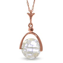 "14K Solid Rose gold fine Necklace 16-24"" w Checkerboard Cut White Topaz - $139.54+"