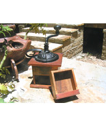 Primitive Old Wooden Dovetailed Coffee Grinder ... - $127.99