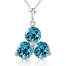 """0.75 CTW 14K Solid White gold fine Start To Finish Blue Topaz Necklace 16-24"""" - $104.71+"""