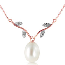 "14K Solid Rose gold fine Necklace 16-24"" w genuine Diamonds & pearl - $139.64+"
