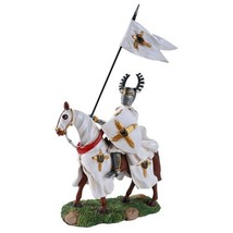 Crusader Knight Flag Bearer Calvary On Horseback Defending Crusader King... - $45.30