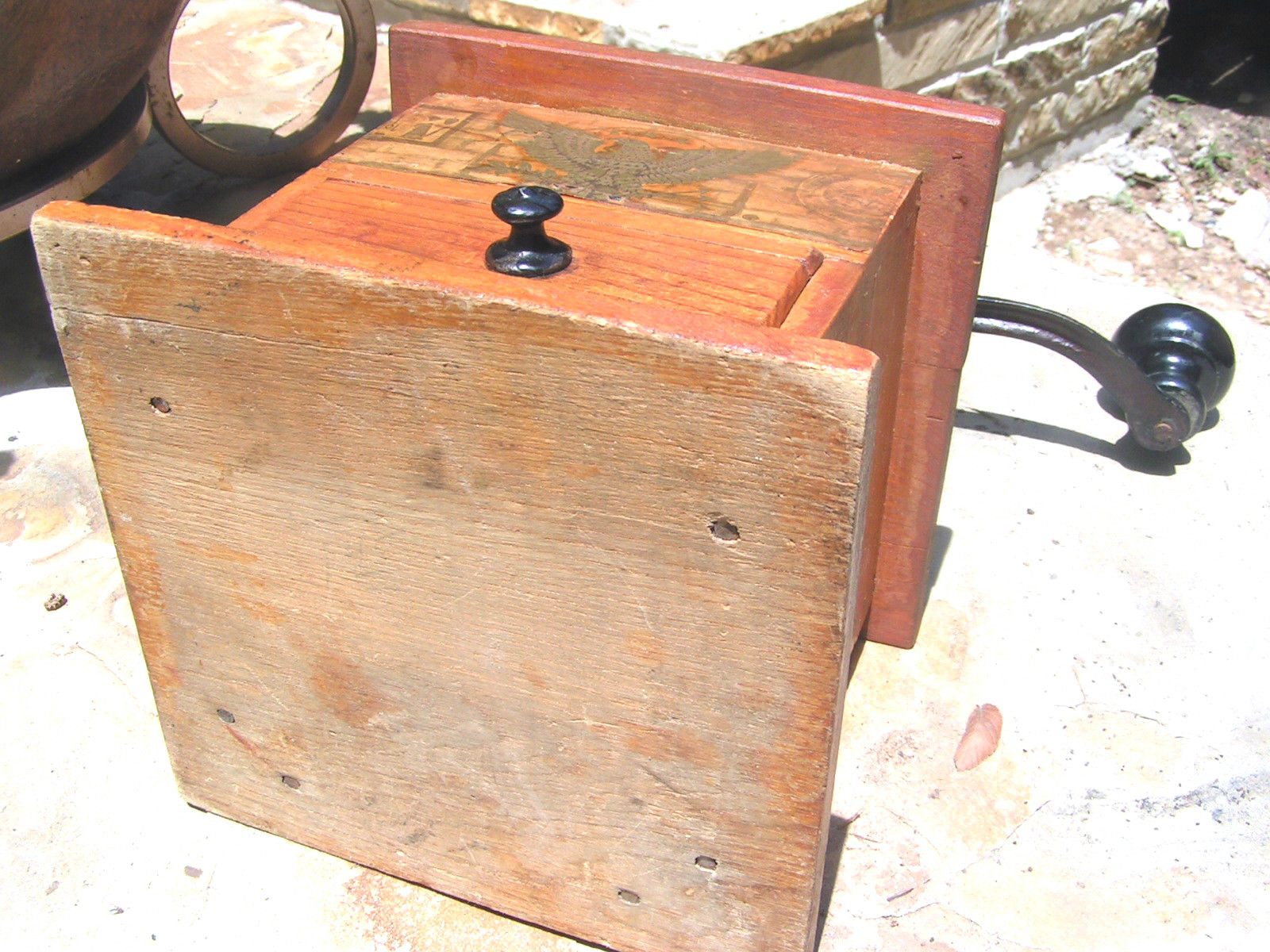 Primitive Old Wooden Dovetailed Coffee Grinder Mill