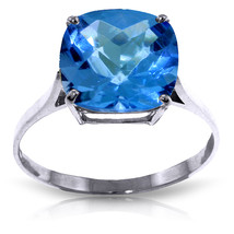 3.6 Carat 14K Solid White Gold Ring Natural Checkerboard Cut Blue Topaz - £177.47 GBP