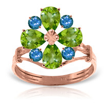 Brand New 14K Solid Rose Gold Ring with Natural Peridot & Blue Topaz - £247.33 GBP