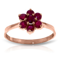 Brand New 14K Solid Rose Gold Ring with  Natural rubyes - £162.90 GBP