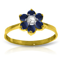 Brand New 0.5 CTW 14K Solid Gold Sapphire Natural Diamond Ring - $289.72