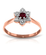 Brand New 14K Solid Rose Gold Ring w/Natural Diamonds & Ruby - $220.10