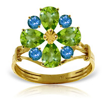 Brand New 2.43 Carat 14K Solid Gold Ring Natural Peridot Blue Topaz - £241.56 GBP