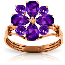 Brand New 14K Solid Rose Gold Ring with Natural Purple Amethysts - £247.33 GBP