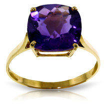 3.6 Carat 14K Solid Gold Ring Natural Checkerboard Cut Purple Amethyst - £173.87 GBP
