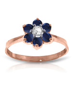 Brand New 14K Solid Rose Gold Ring w/Natural Diamond & Sapphires - $297.72