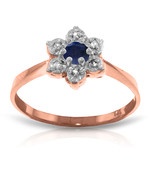 Brand New 14K Solid Rose Gold Ring w/Natural Diamonds & Sapphire - $219.63