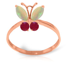 Brand New 0.7 CTW 14K Solid Rose Gold Butterfly Ring Opal Ruby - $219.14