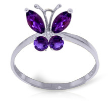 Brand New 0.6 CTW 14K   White Gold Butterfly Ring Natural Purple Amethyst - $204.76