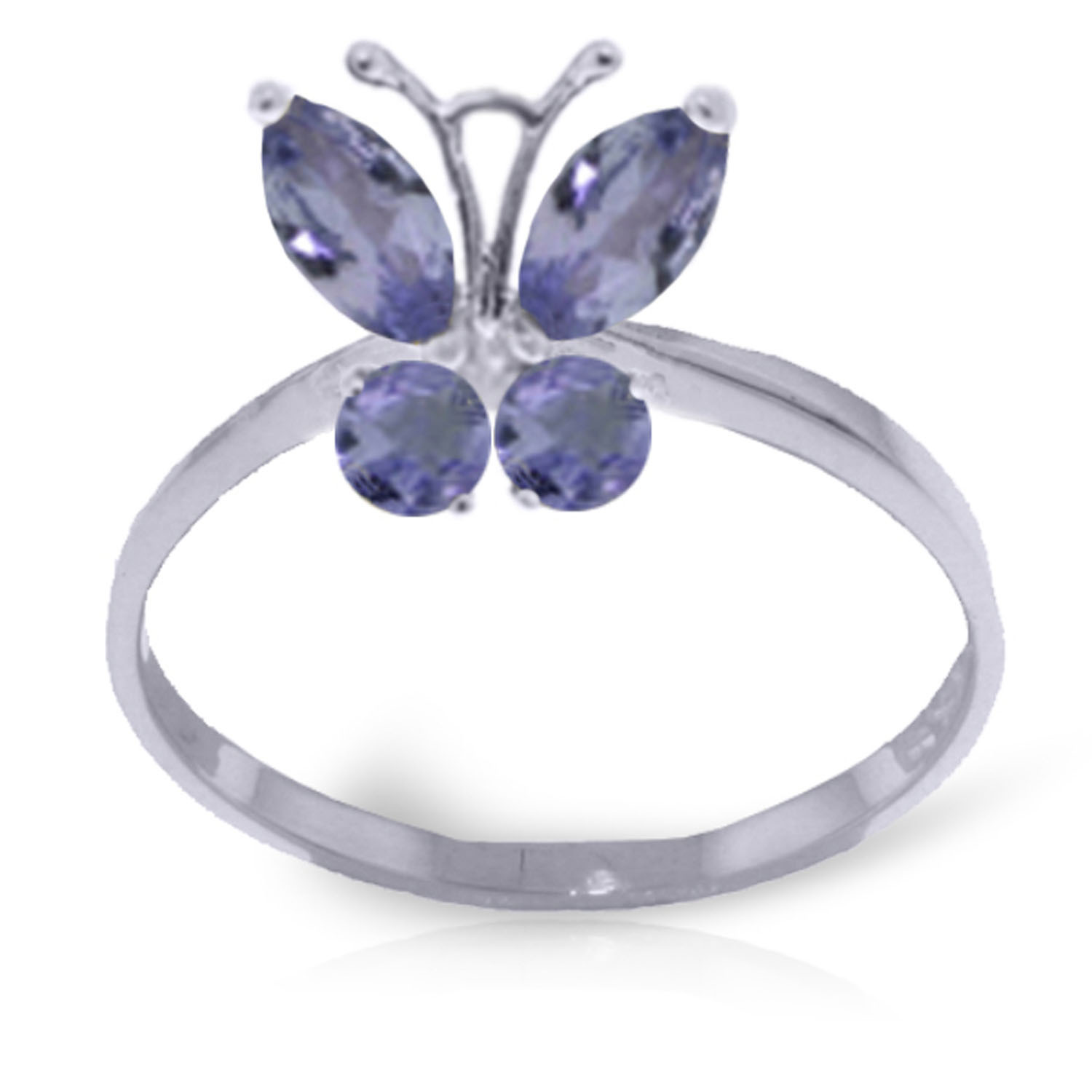 Brand New 0.6 Carat 14K Solid White Gold Butterfly Ring Natural Tanzanite