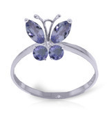 Brand New 0.6 Carat 14K Solid White Gold Butterfly Ring Natural Tanzanite - €168,50 EUR