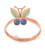 Brand New 0.7 CTW 14K Solid Rose Gold Butterfly Ring Opal Tanzanite - $226.73