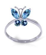 Brand New 0.6 Carat 14K   White Gold Butterfly Ring Natural Blue Topaz - $204.76