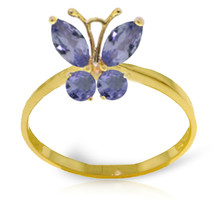 Brand New 0.6 Carat 14K Solid Gold Butterfly Ring Natural Tanzanite - £168.65 GBP