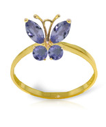 Brand New 0.6 Carat 14K Solid Gold Butterfly Ring Natural Tanzanite - $233.90