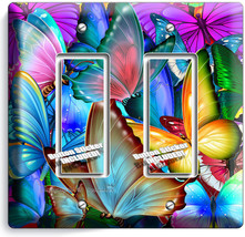 Colorful Butterflies Double Gfci Light Switch Wall Plate Baby Room Nursery Decor - $10.79