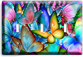 Colorful Butterflies Triple Light Switch Wall Plate Baby Room Nursery Art Decor - $16.19