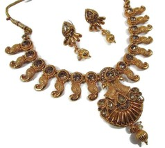 Necklace South Indian 22K Gold Plated Bollywood Fashion Necklace Earrings Set - $9.41