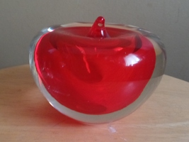 Vintage Solid Encased RED and Clear APPLE Art Glass PAPERWEIGHT - $18.00