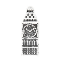 STERLING SILVER 3D ENGLAND BIG BEN CLOCK BEAD CHARM - $23.33