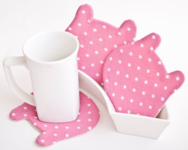 Pink Coasters Fabric Kitchen Accessory Housewarming Gifts Set of 4 Mom Gift - $17.00