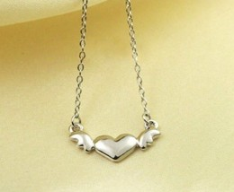 18K RGP Heart with Wings Alloy Necklace(Platinum) - £7.14 GBP