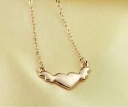 18K RGP Heart with Wings Alloy Necklace(Gold) - £7.14 GBP