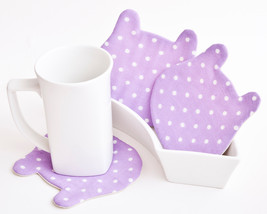 Coaster for cups Fabric Polka Dot Home Decor Gift for Coworker Gift for ... - $17.00