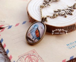 Hot Vintage Hand Painted Owl Medal Acrylic Pendant Necklace - £6.90 GBP