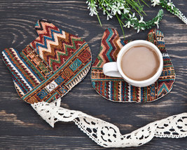 Tribal Coaster for cups Fabric Bear Home Decor Gift for Coworker Gift fo... - $17.00