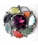 Vintage Miracle Brooch Purple and Multicolor St... - $45.00