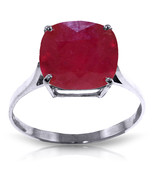 Brand New 6.75 Carat 14K Solid White Gold Ring Natural Cushion Shape Ruby - $495.13