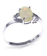 Brand New 0.45 CTW 14K Solid White Gold Boundless Heart Opal Ring - $154.77