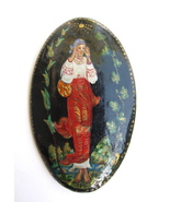 Vintage Russian Painted Oval Pin Woman Signed - $18.00