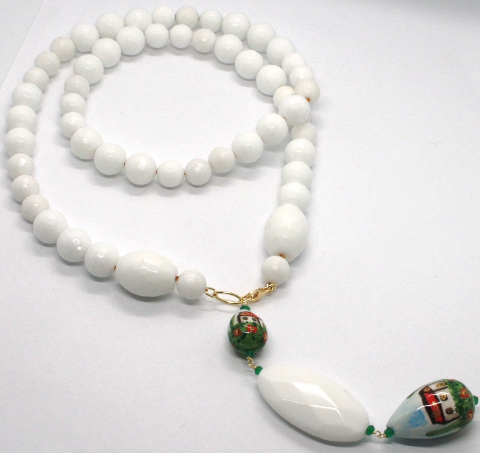 18K YELLOW GOLD LARIAT NECKLACE WHITE AGATE & CERAMIC HOME HAND PAINTED IN ITALY
