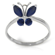 Brand New 0.6 CTW 14K Solid White Gold Butterfly Ring Natural Sapphire - £185.00 GBP