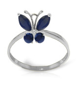 Brand New 0.6 CTW 14K Solid White Gold Butterfly Ring Natural Sapphire - $243.95