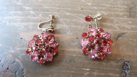 Vintage Red and Pink Gold Tone Rhinestone Screwback Earrings 3.7cm - $19.79