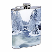 Flask 8oz Stainless Steel Winter Design-006 Drinking Whiskey - $12.82