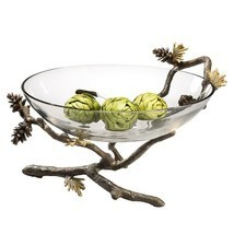 "Pinecone Branch Large Glass Bowl  Nature Decorative Bowl ,14""W  x 9''H. - $147.51"