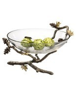 "Pinecone Branch Large Glass Bowl  Nature Decorative Bowl ,14""W  x 9''H. - ₹10,490.45 INR"